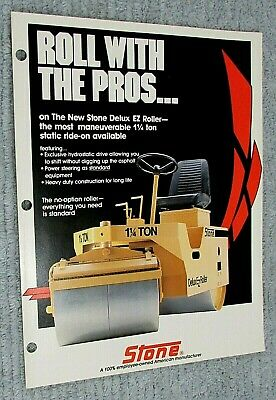 Old 1988 Stone Construction Equipment Self Propelled Ez Roller Brochure Free Sh
