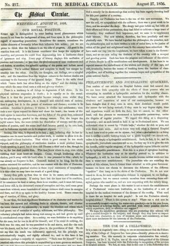 1856 AUG 27 THE MEDICAL CIRCULAR NEWSPAPER JOURNALISTIC QUACKERY DRUG ADS 12 PGS