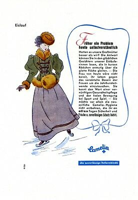 Damenbinde Camelia Reklame 1942 Eislauf Eistanz Werbung Montatshygiene