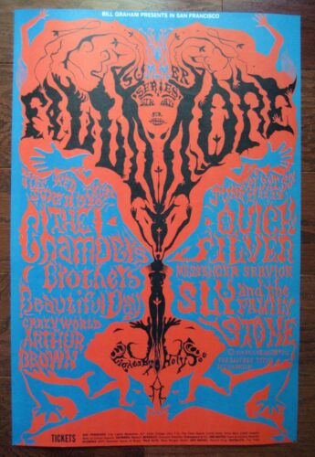 1968 LEE CONKLIN SLY STONE CHAMBERS BROTHERS QUICKSILVER FILLMORE POSTER BG 125