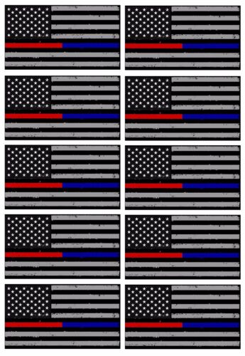 x10 Support Police & Fire Thin Tattered Blue Red Line Flag Decals Stickers