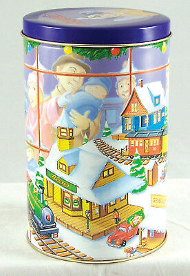Hershey's Reese's Chocolates Tin Xmas Toy Train Scene 1996 Empty Can Canister#9