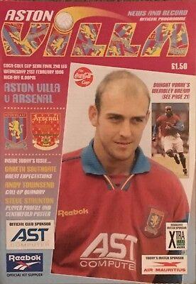 League Cup Semi-Final 1996. ASTON VILLA v ARSENAL. MINT