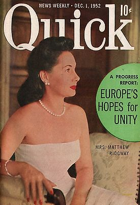 Quick News Weekly Magazine 1952 December 1 News Entertainment Photos