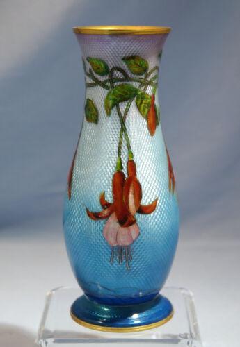 French Art Nouveau Limoges Guilloche Enamel Vase Floral Motif Circa 1900