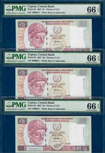 Cyprus 5 pounds 1997, P58, PMG*66*,continuous prefixes all with low serial *11*!