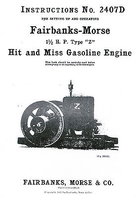 Fairbanks Morse 1 12 Hp Z Hit Miss Gas Motor Engine Book Manual Igniter 2407d