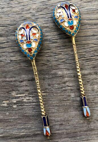 KLINGERT GUSTAV Russian Silver 84 Antique Beautiful Enamel Art 2 Spoons