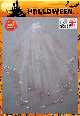 Veil Hen Night Fancy Dress Costume Party Bride To Be Haunted (Bridal Veil Halloween)