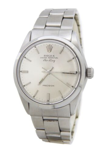 Rolex Air King Precision 5500 Mens Stainless Steel Watch Oyster Band Silver Dial