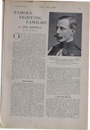 1915 WW1 ARTICLE & PICS LIEUTENANT RUPERT OSWALD DEREK KEPPEL ADMIRAL HARRY