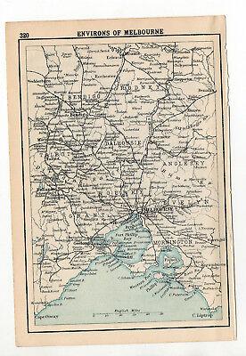 Map Of Environs Of Melbourne Australia Antique