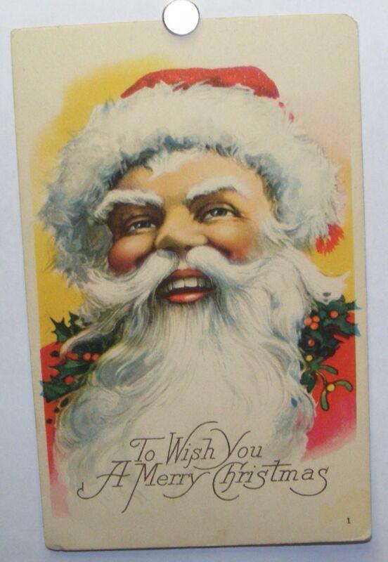 Unused 1920s unused Santa Claus Christmas postcard; Karle Quality brand