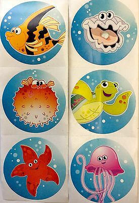 100 Tropical Summer Ocean Sea Life Fish Turtle Starfish Stickers Party Favors (Fish Party Favors)