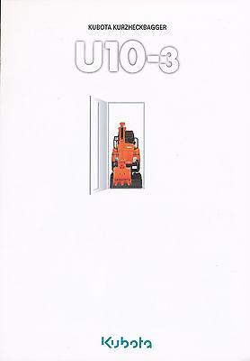 Kubota U10-3 Kurzheckbagger Bagger Prospekt 2003 Baumaschinen Broschüre Japan