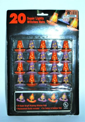 Vintage Halloween Witches Hats Blinking Light Strand 20 Count