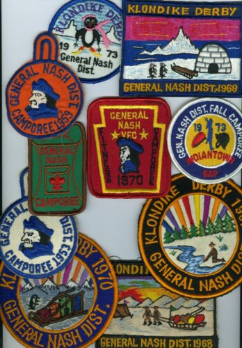 Lot Of 10 1953-73 Boy Scout Valley Forge Council General Nash Patches