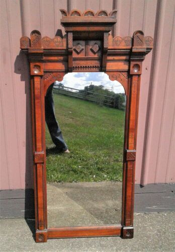 """Antique Carved Walnut Victorian Eastlake Hanging Hall Mirror 1880s 50"""" Tall"""
