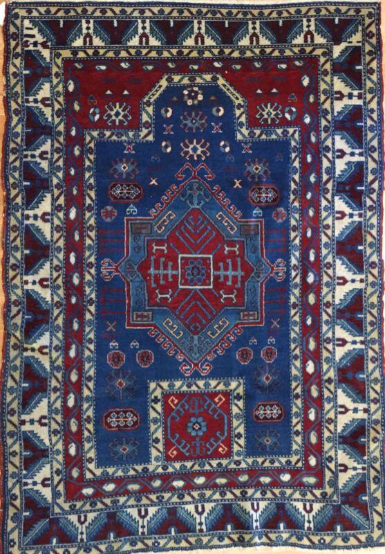 Classic Caucasian - 1920s Antique Kazak Rug - Prayer Design - 3.6 X 5.1 Ft.