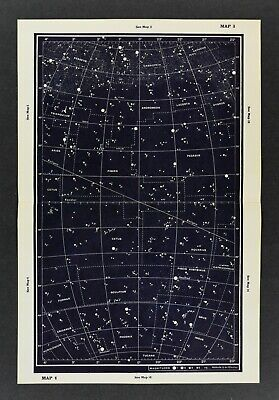 1961 Gall & Inglis Star Map Equator Ecliptic Cassiopeia Pegasus Andromeda