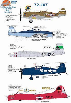 Wolfpak Adhesivos 72-107 Bomba B-17 Fortress Hellcat Douglas Invader Bombardero