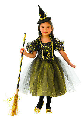 Girls Golden Star Witch Costume Halloween Size Medium 8-10 ()