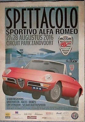 Alfa Romeo Spider Duetto 50 Years Zandvoort Circuit Poster Mint 70cm x 50cm