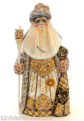 White Christmas SANTA Russian Obtuse Hand Carved Hand Paint Sign by the Artist
