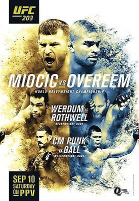 UFC 203 Fight Poster (24x36) - Stipe Miocic vs Alistair Overeem, CM Punk vs Gall for sale  Cincinnati