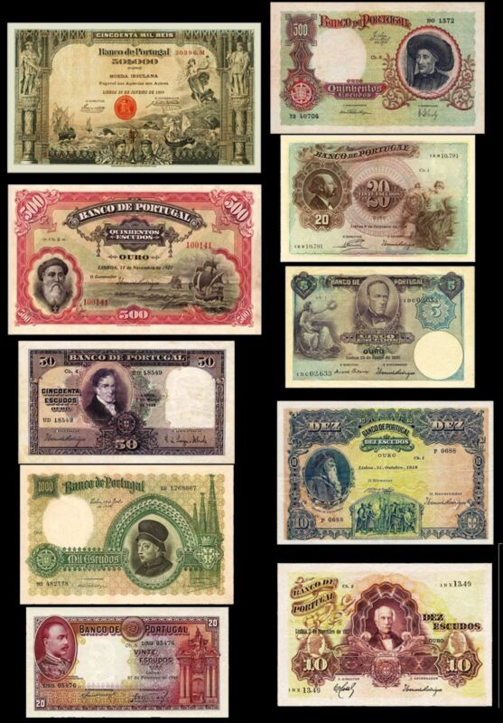 !COPY! 10 VERY BEAUTIFUL PORTUGAL BANKNOTES !NOT REAL!