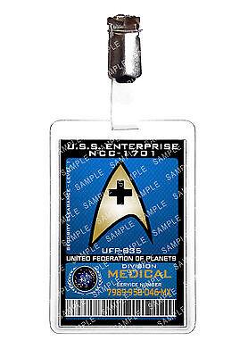 Star Trek Medical Division Starfleet ID Badge Cosplay Costume Prop Comic Con
