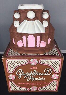 Avon Gingerbread House Christmas Candle Frankincense Myrrh with Box Vintage
