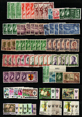 SARAWAK MALAYSIA accumulation of good used issues 1955 to 1986 + some block wmk