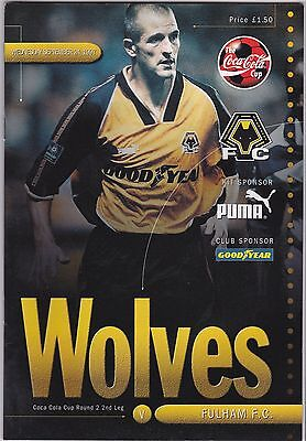 WOLVERHAMPTON WANDERERS  V FULHAM  LEAGUE CUP 24/9/97