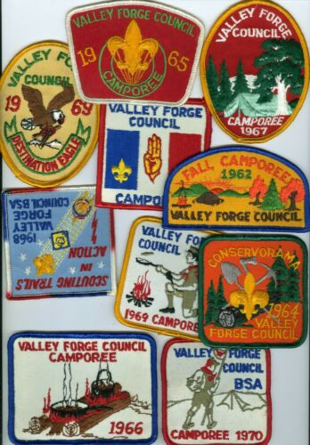 Lot Of 10 Older Boy Scout Valley Forge Council Patches #2