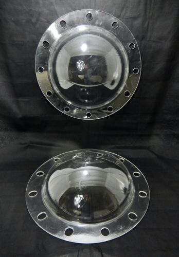 """Pair 19.5"""" Clear Acrylic - Lucite  Half-Round Pipe Caps with Flanges"""
