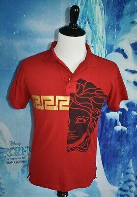 Pre-Owned Mens Versace Half Medusa label Gold Logo Red Polo T-shirt Small Tagles