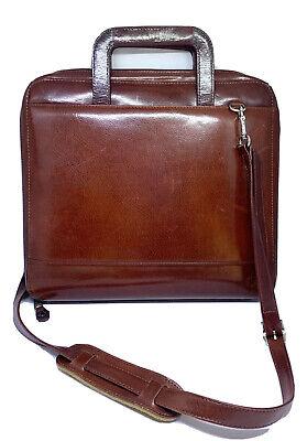 Franklin Covey Zip Briefcase Binder Shoulder Strap Full Grain Leather Brown 1996