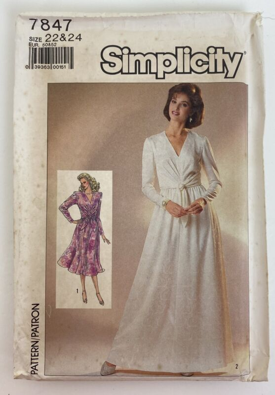 Vintage Simplicity Pattern 7847 Miss Semi-fitted Dress Size 22-24 Uncut 1986