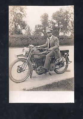 REAL PHOTO VINTAGE HARLEY DAVIDSON MOTORCYCLE ADVERTISING POSTCARD COPY