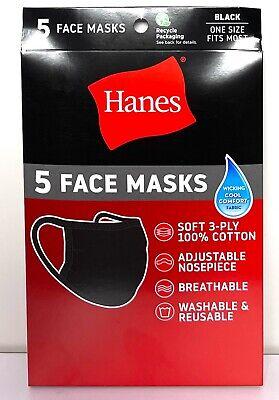 5 Pack Hanes Face Masks - Black Cotton Reusable Cover Face mask Cloth Facemask