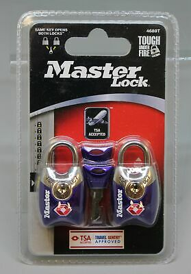 Master Lock 4689T TSA Luggage Lock - 2 Pack With Key - Purple - New - $7.50
