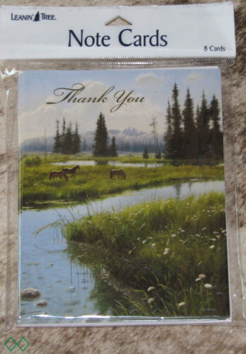 "LEANIN TREE ""Thank You"" Horses in Mountain Meadow~#35256~8 Notecards~Blank~"