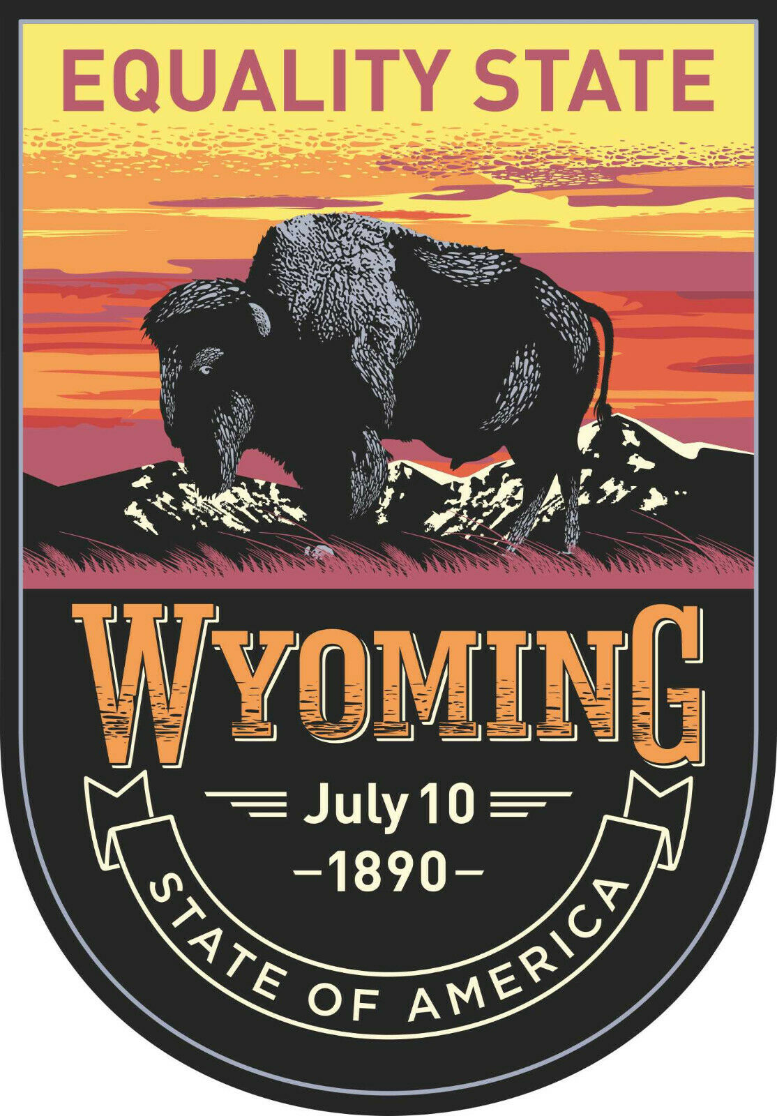20cm Auto Aufkleber Wyoming Bundesstaaten Wappen Logo Sticker Caravan LKW Truck