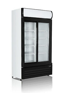 2 Door 1000L Commercial Upright Glass Display Fridge RRP $2799