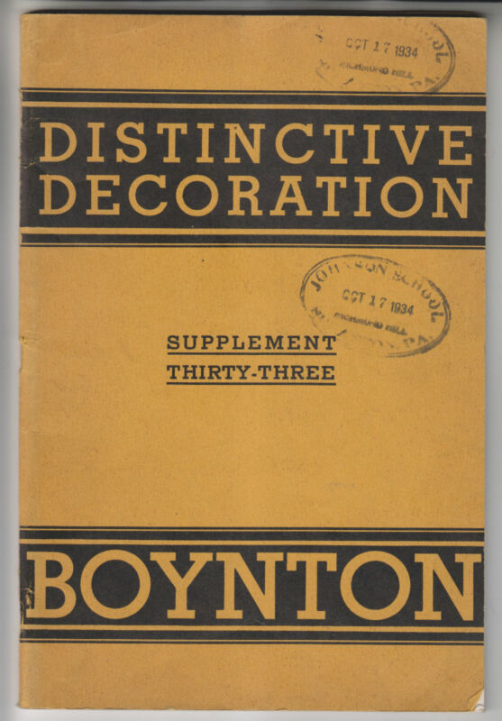 CIRCA 1930 BOYNTON CATALOG - DETAIL ORNAMENTATION FOR FURNITURE - CHICAGO