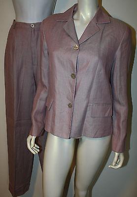 GUY LAROCHE Pink Gray Linen Pant Suit Pants Jacket 42 US 8 10 Herringbone LN](Pink Guy Suit)