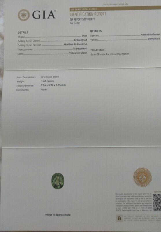 GIA. Natural Demantoid Garnet 1.40ct