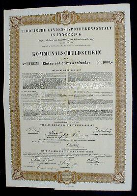 6,5% Tirolische Landes-Hypothekenanstalt Kommunalschuldschein 1000 Sfr. 1931