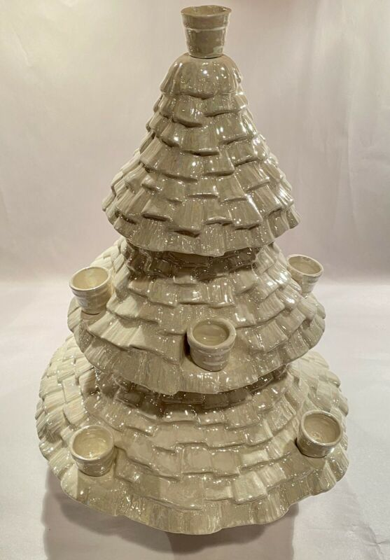 Vintage Rare Pearl Iridescent White Ceramic Candle Holder Christmas Tree Signed